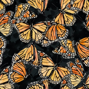 Hand drawn butterfly and abstract shapes seamless pattern