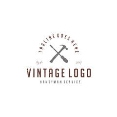 vintage screwdriver and hammer for handyman service logo design