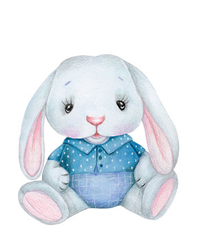 Cute watercolor bunny rabbit hare boy, toy animal illustration for kids and baby. Isolated. Hand drawn.