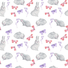 Watercolor seamless pattern with hares, butterflies and twigs of plants