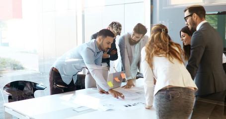 Fotobehang - Perspective businesspeople having meeting in conference room