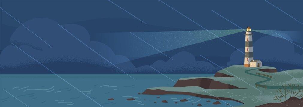 Lighthouse on seashore at rainy night flat vector illustration. Island pharos, seascape, signal building on seaside. Coastline landscape with beacon. Navigation aid tower on horizon.