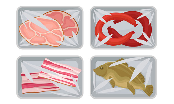 Meat and Fish Packed in Boxes Under Vacuum Food Packaging Film for Keeping Safe Vector Set