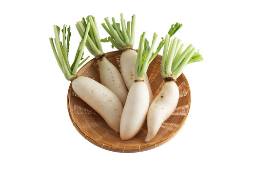 White radish in a bamboo basket