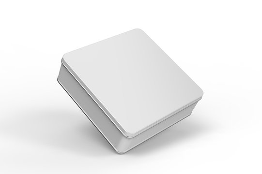Blank tin container for branding and design. 3d render illustration.