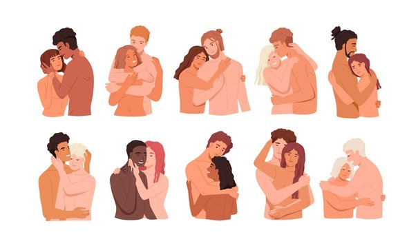 Couples intimate life vector illustrations set. Sexual relations in pairs, physicality, tenderness, cuddle, prelude concept. Young and adult people, homo and hetero couples cartoon characters.