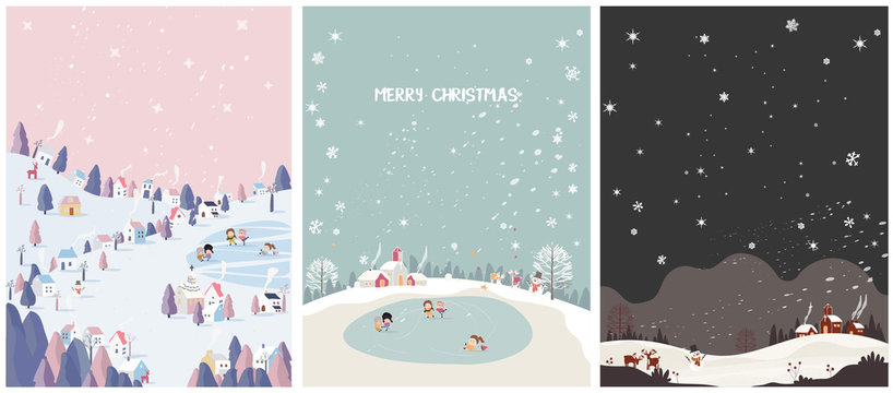 set of winter season postcard,mountain small village with snowflake,deer,snowman and church in pastel pink,mint green and night  scene.Concept of happy winter.Merry Christmas.