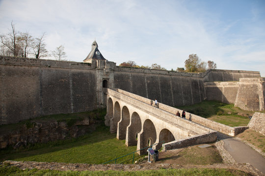 Citadel medieval bridge ancient in Blaye town france