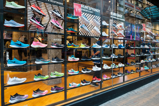 Nike sneakers in in shop window at sneaker street in Hongkong - November, 2019