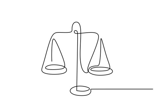 Continuous one line drawing of law weights. Scale of metal vector minimalism design.