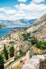 Bay of Kotor town and fortress panorama view in Montenegro