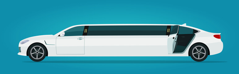 Limousine car with open back door isolated, side view. Vector flat style illustration.