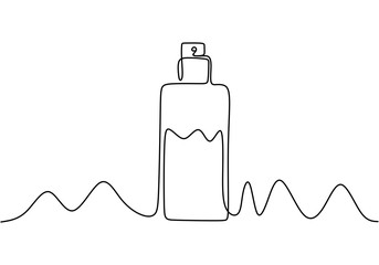 Continuous one line drawing of perfume cosmetic bottle. Minimalism vector isolated on white background. Wall mural