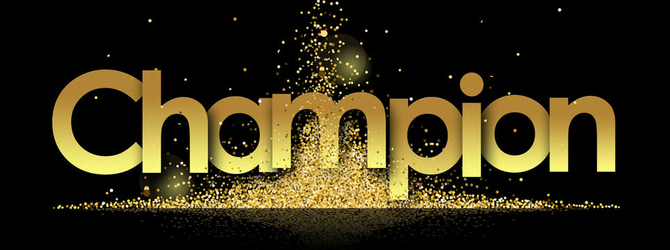Champion in golden stars and black background