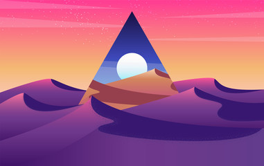 Fond de hotte en verre imprimé Prune Desert sunset landscape with sand dunes concept. triangle abstract of Sunset and sunrise in sandy valley. Vector illustration