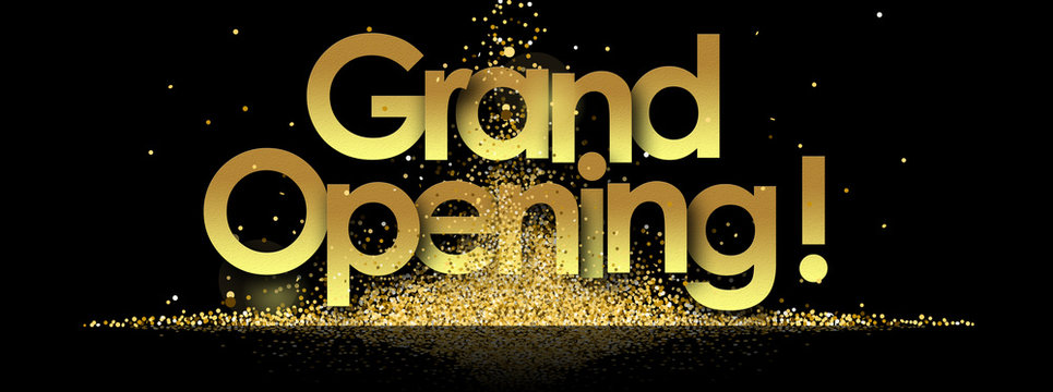 grand opening in golden stars and black background