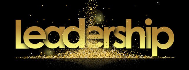 leadership in golden stars and black background Wall mural