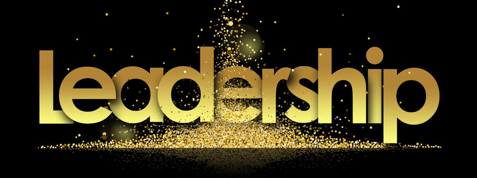 leadership in golden stars and black background