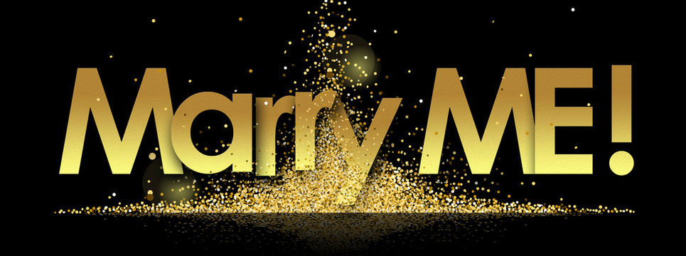 marry me in golden stars and black background