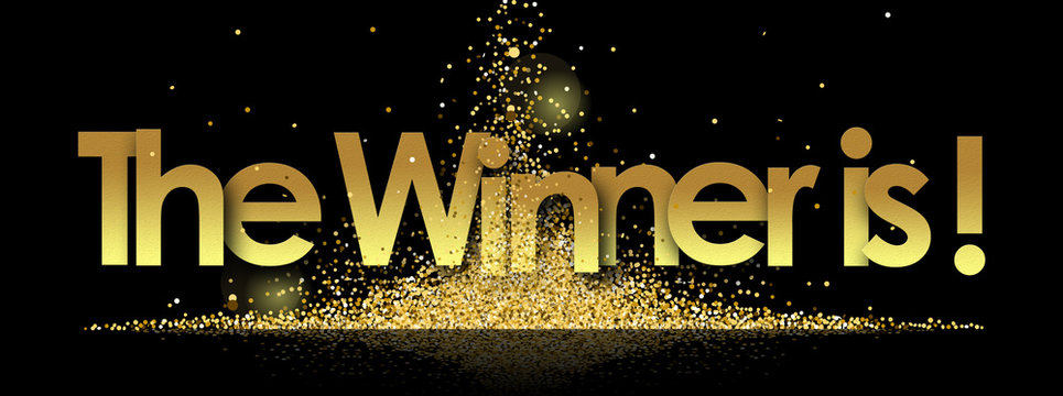 the winner is in golden stars and black background
