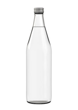 Clear White Water, Soda, Juice or Mineral Water Bottle with Screw Cap. Realistic 3D Mockup Isolated on White Background Close-Up.