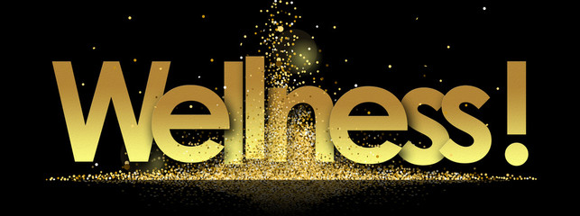 wellness in golden stars and black background