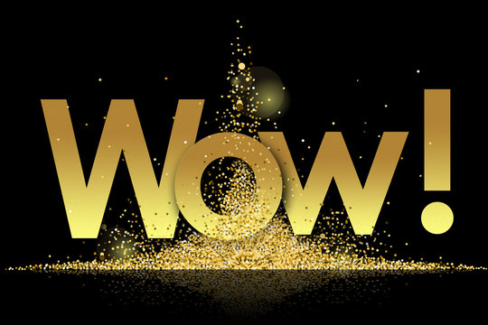 wow in golden stars and black background