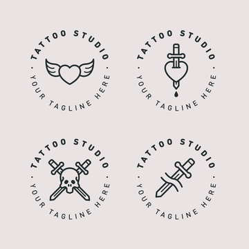 Tattoo Studio Circle Cute Logo Template. Creative Hipster Stamp Sign. Old School Heart Wings, Dagger Heart, Skull Sword. Vector Flat Line Icon.
