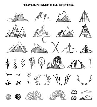 Big hand drawn set of sketch mountains,tents,trees,clouds.,birds,sun shine,sky,floral branches.Vector illustration of different travel elements, isolated on the white background .Engraving style.
