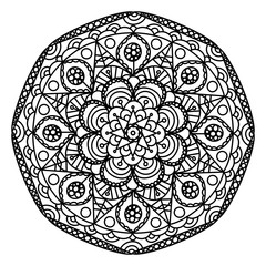 black and white mandala floral vintage design.