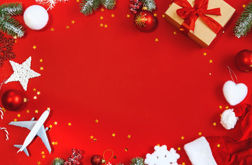 Beautiful christmas background. Travel concept. Selective focus.