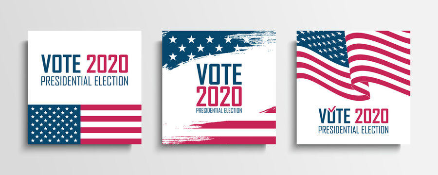 2020 United States Presidential Election set. USA Elections Vote cards collection. Vector Illustration.