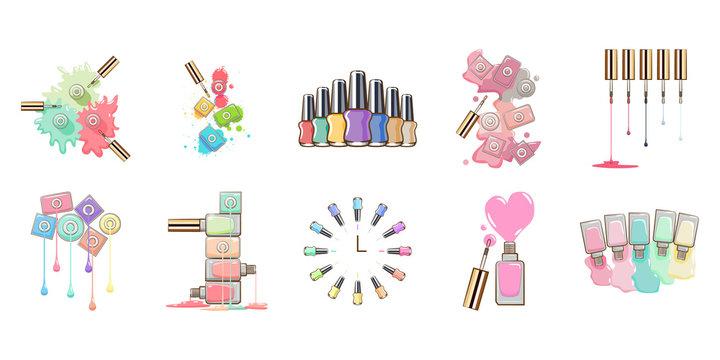 Nail polish vector set collection graphic clipart design