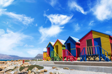 Fotobehang Zuid Afrika Colorful Beach Houses in Cape Town