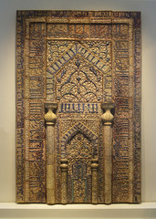 Berlin, Germany. Exhibition Pergamon Museum, Collection of Islamic Art. Prayer niche from the Meydan mosque of the city Kaschan (Iran).