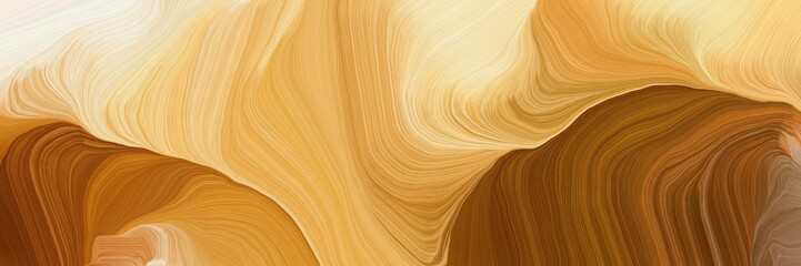 horizontal banner with waves. modern soft curvy waves background illustration with sandy brown, wheat and chocolate color Fototapete