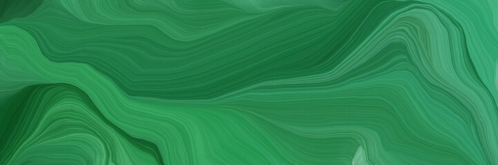 dynamic horizontal banner. modern soft curvy waves background design with sea green, medium sea green and very dark green color Wall mural