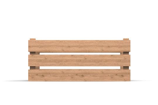 Wooden box. Box. 3D rendering.