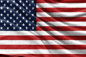 Fabric texture of USA national flag