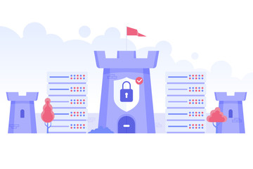 Data protect. Safe cyberspace concept with castle