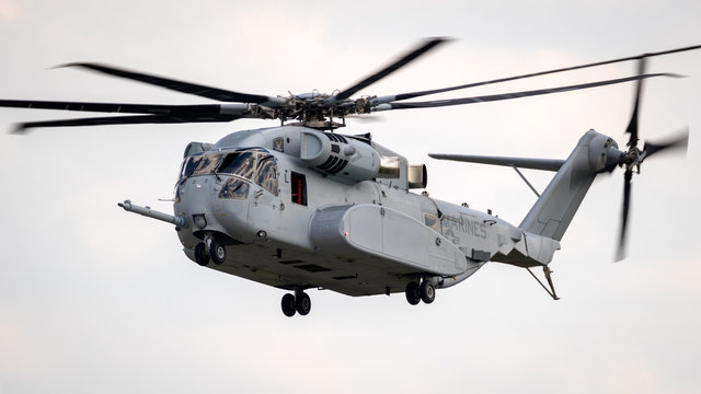 BERLIN - APR 27, 2018: New Sikorsky CH-53K King Stallion heavy-lift helicopter of the US Marines in action at the Berlin ILA Air Show.