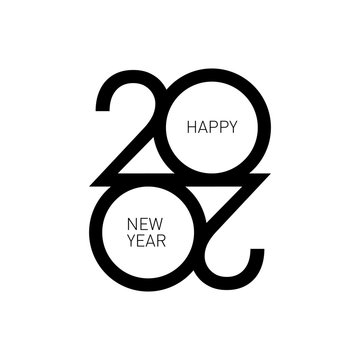 2020 new year logo. Graphic design with vector logotype, symbol, sign 2020 and text: Happy New Year. Graphic modern numbers for banner, calendar, greeting card, invitation concept.