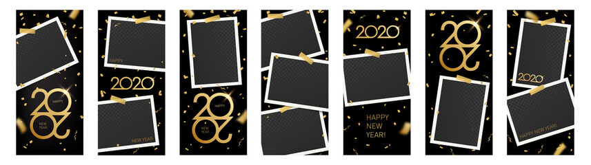 Editable New Year 2020 stories template for social media. Insta stories layout vector set. Text: Happy New Year with golden confetti, serpentine.