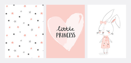 Estores personalizados con tu foto Nursery posters collection with cute girl rabbit character. Little princess. Hand drawn illustration for nursery wall art in scandinavian doodle style. Design for baby, kids poster, card, invitaton.
