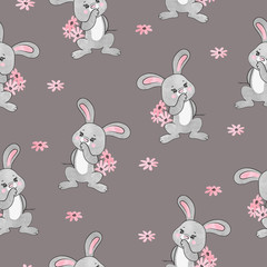 Seamless watercolor cute bunny pattern for kids. Vector illustration of rabbit with flowers.