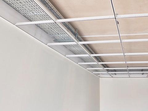 Metal frame of suspended ceilings. Making of false ceilings