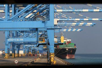 A container ship is moored at Abu Dhabi's Khalifa Port after it was expanded in Abu Dhabi