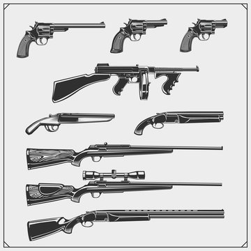 Collection of Guns. Revolvers, hunting rifles, machine guns, shotguns. Vector monochrome illustration.
