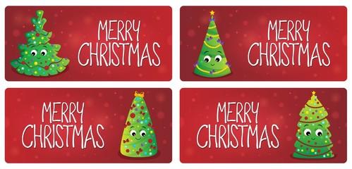 Deurstickers Voor kinderen Merry Christmas theme cards 1