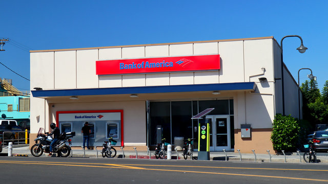 Bank of America sign. BofA is an American multinational investment Bank and Financial Services Company - Venice Beach, California